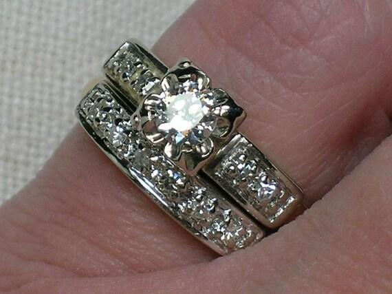 Vintage Wedding Rings Set: Bold Mid Century Moderne