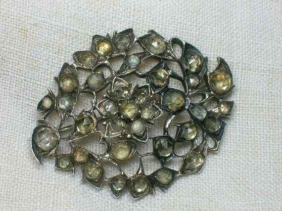 1700s Silver Brooch, Baroque Floral Jargoon, Something Old for a Bride
