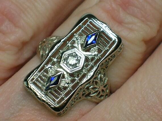 "Antique Diamond & Sapphire Ring: Art Deco White Gold Filigree ""Box"""