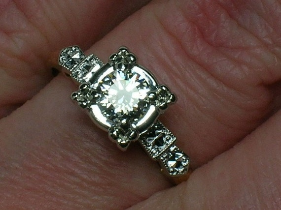 Vintage Diamond Engagement Ring: Art Deco Floweret Solitaire. Euro Cut