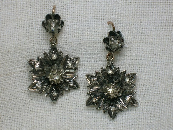 Silver & Diamond Earrings, Georgian Antique, Large Gothic Floral Drops