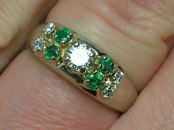 Vintage Diamond & Emerald Ring: A St Patrick's Day Engagement