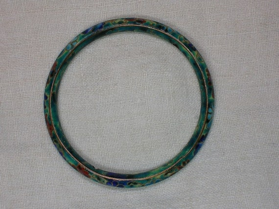 Vintage Chinese Cloisonnee Bracelet: Blue, Green, Red Yellow & White, c1950s, 58.7mm
