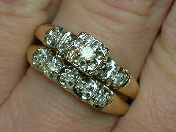 Vintage Wedding Rings Set Tudor Rose Illusion Head Classic