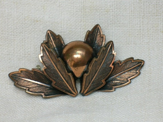 "Mid Century Brooch: Copper ""Snitch"", 1940s or 50s"