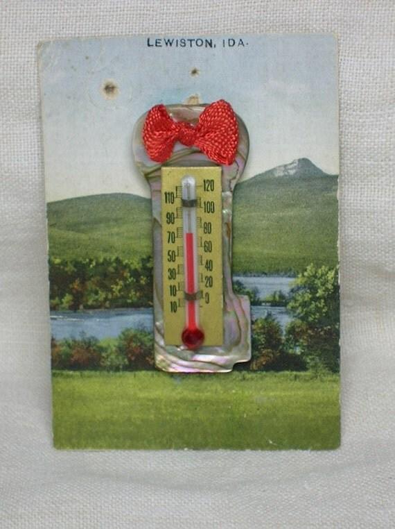 Vintage Thermometer Pendant. Key Shaped Abalone, Lewiston, Idaho. Cute
