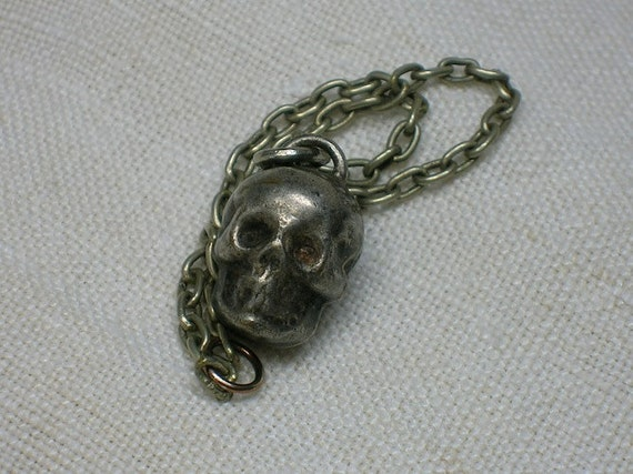Victorian Skull Memento Mori Charm or Pendant, Silver, French, Mourning