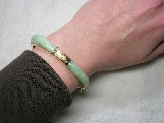 14K Jadeite Jade Bracelet: Celadon Green, Vintage Chinese beauty