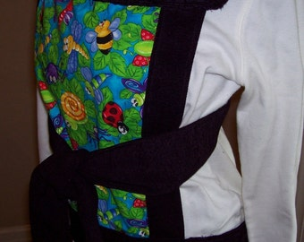 Mei tai styled baby carrier Amazingly comfortable, reversible, reinforced OOAK bugs and flowers