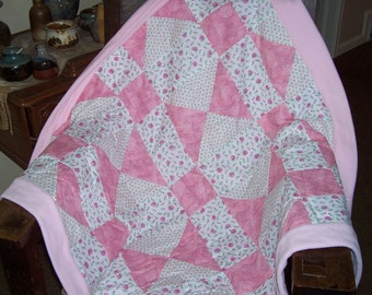 "Beautiful ""nine patch"" fleece and cotton patchwork blanket for child or infant"