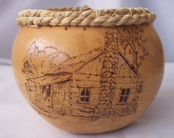 pyrography country cabin gourd art bowl
