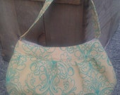 Shortcake Bag- Turquoise Scroll