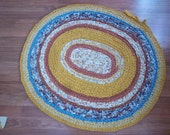 Oval Rag Rug in Golden Yellows, Cinnamon, Floral and Turquoise