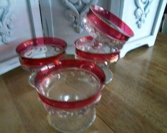 Vintage Ruby Red  King's Crown Sherbets Set of Four        Four Sherbet Cups