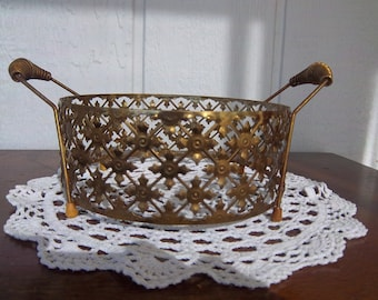 Vintage Filigree Footed Bowl Caddy with Handles