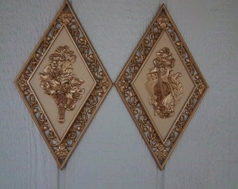 Pair of  Vintage Syroco Plaques