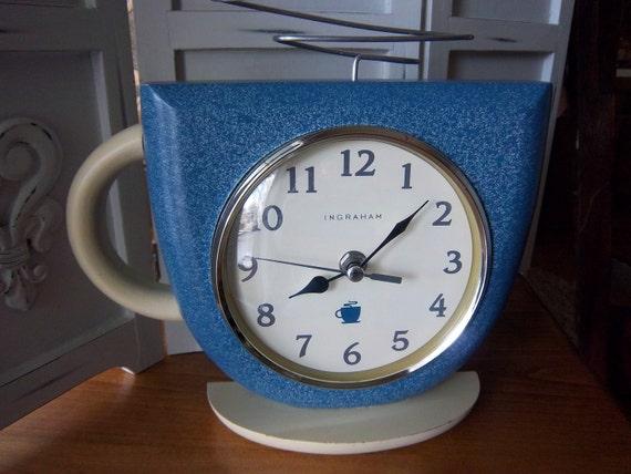 Retro Ingraham Coffee Cup Clock
