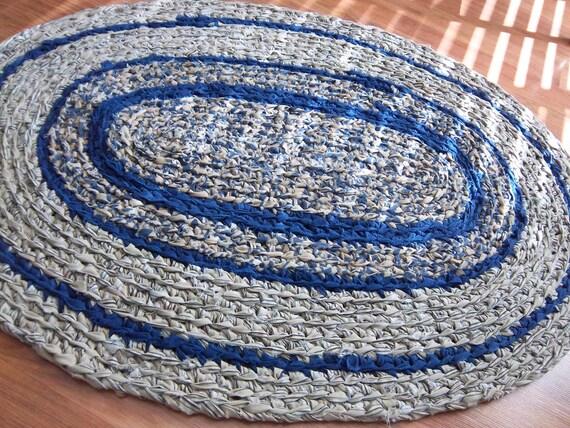 Repurposed Oval Navy & Khaki Rag Rug