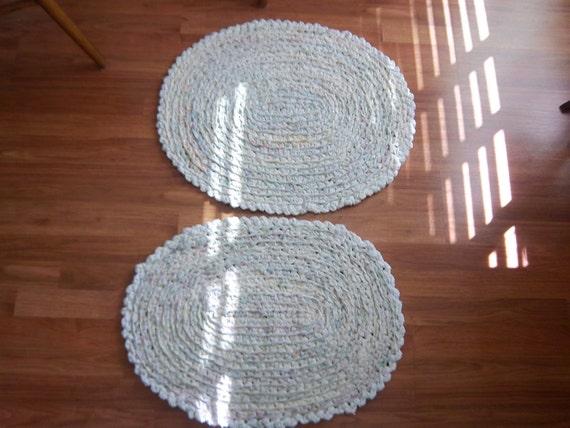 Pair of Pastel Crocheted Rag Rugs