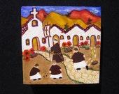10% off - Mexican folk art acrylic mini painting OOAK - village scene