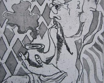 Intaglio Prin Aquatint Portrait El Morro