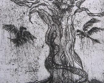 Intaglio aquatint print of El Arbol (Tree of Life) roots snake birds nest eggs