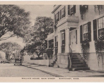 Wallace House, Main Street, Nantucket post card. Gardiner b&w