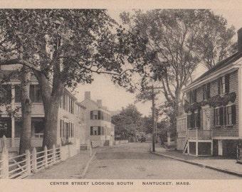 Center Street Looking South, Nantucket post card. Gardiner, black & white.