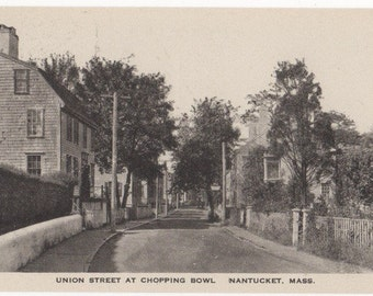 Union Street at Chopping Bowl, Nantucket post card. Gardiner black & white.
