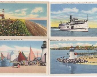 4 Nantucket Linen Post Cards, Sankaty and Brant Point Light House, Steamship Marthas Vineyard and The Rainbow Fleet.
