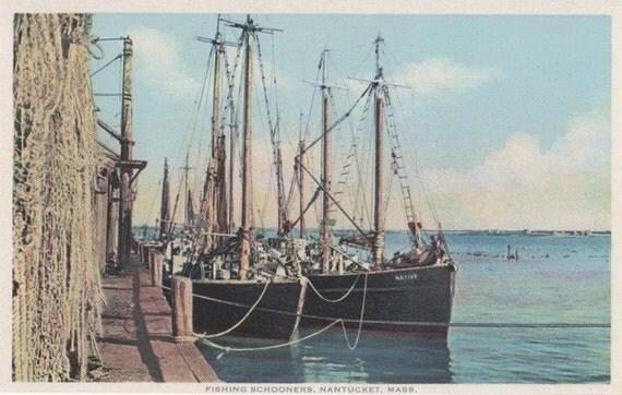 Fishing Schooners, Nantucket post card. Gardiner, PHOSTINT