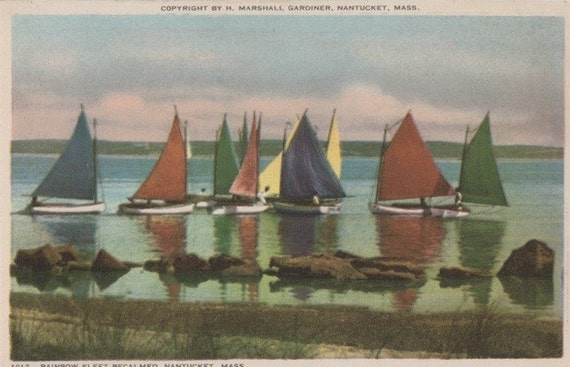 Rainbow Fleet Becalmed, Nantucket postcard. Gardiner Nantuckrome