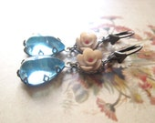 Vintage Assemblage Floral Earrings / Pastel Aqua Blue