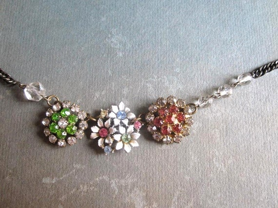 Repurposed Jewelry /  Vintage Rhinestone Summer Sparkles Necklace / OOAK