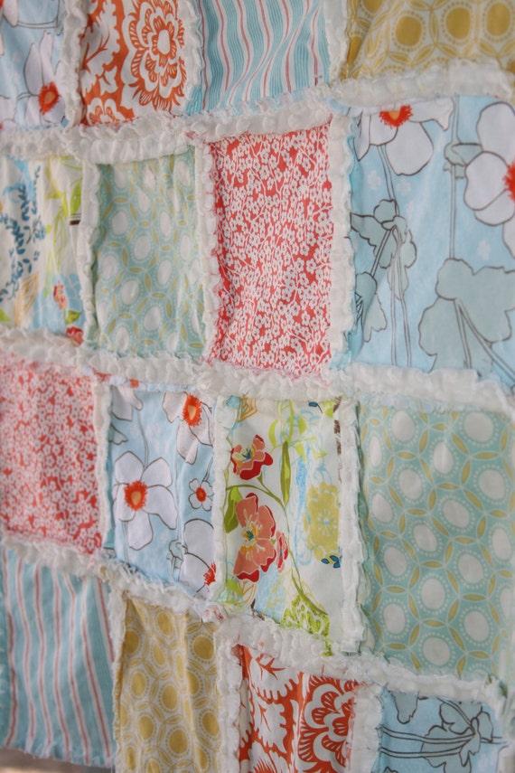 Baby Girl Gift Set Rag Quilt Stroller Blanket With Burp Cloth