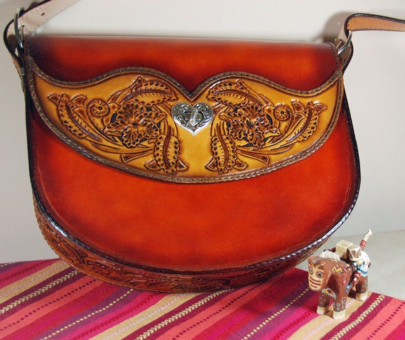 Hand Tooled Leather Designer Bag