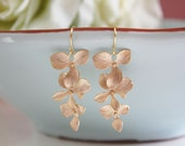Gold Earrings, Dangling Orchid Earrings, Bridesmaid Jewelry, Bridesmaid gifts, Graduation Gift, gifts for her, best friend, mom, teens