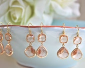 Bridesmaid Gift Jewelry Peach Coral Drop Earrings Dangle Earrings Bridal Earrings Bridesmaid Earrings Wedding Jewelry Set of 3 Gold Earrings