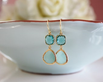Gold Earrings, Aqua Blue Dangle Earrings, Mint Wedding, Bridesmaids Earrings, Bridesmaid Gifts, Blue Wedding, Gifts for Her Best Friend Gift
