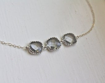 Gray Glass Silver Necklace Bridesmaid Necklace, Bridesmaid gifts, birthday gift, best friend gift, gifts for her, wedding jewelry