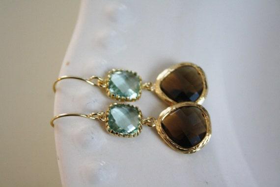 Dangle Earrings, brown and green earrings, Gold Earrings, Bridesmaids Earrings, Fall Earrings, Bridal Earrings, Best Friend Gift, Birthday