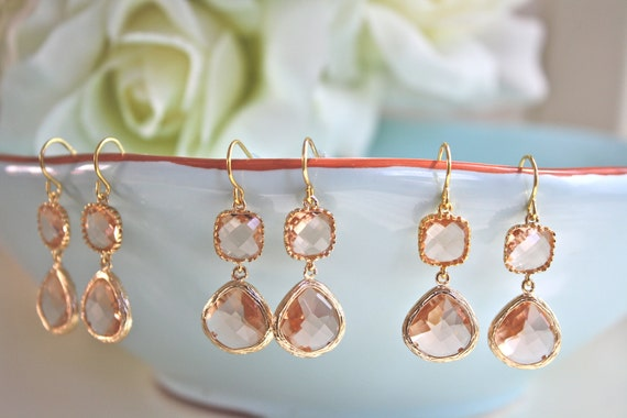 Blush Bridesmaid Set Gift Jewelry Dangle Earrings Blush Earrings Bridesmaid Earrings Bridesmaid Set of 3 Gold Earrings Bridesmaid Gift