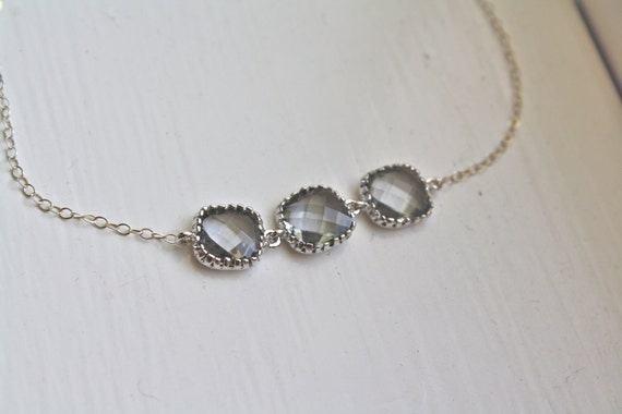 Gray Glass Silver Necklace sterling silver -  Bridesmaid Necklace - Bridal Necklace, gifts for her, gifts for mom best friend gift, birthday