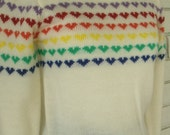RAINBOW HEARTS SWEATER vintage 1980s pullover sz S