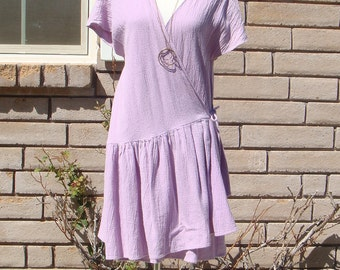 80's ASYMMETRICAL WRAP DRESS vintage pastel lavender drop waist minidress S