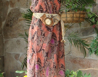 PAISLEY FLOWY MAXI skirt dress vintage 1990s sz sm