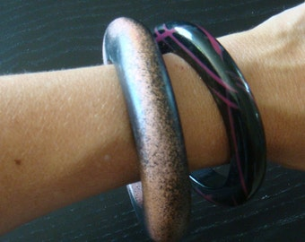 NEW WAVE BANGLE bracelets vintage 80s set