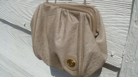 OSTRICH LEATHER CROSSBODY vintage 1980s bag with tassel, free shipping