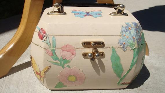 FLORAL BOX PURSE vintage 1960s decoupage flowers & butterflies