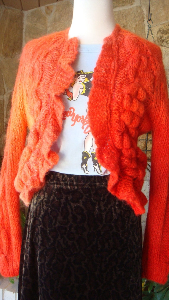 CHUNKY CARDIGAN recycled vintage 1960s mohair